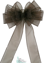 Pew Bows Brown Sheer - Set of 4 Brown Bows - Reception Decoration