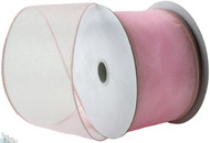 Wired Edge Organza Ribbon - Light Pink - 25 yards