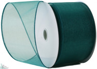 Wired Edge Organza Ribbon - Teal - 25 yards
