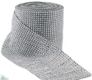 Diamond Rhinestone Ribbon 30ft long x 4.5in wide - Wedding Decor, Party Supply, Silver Mesh Wrap, Bulk Wholesale
