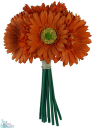 Tangerine Orange Daisy Bouquet - Bridal Wedding Bouquet
