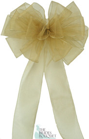 Pew Bows Gold Sheer - Set of 4 Gold Bows - Reception Decoration