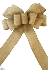 Pew Bows Burlap Natural Jute - Set of 4 Premium Burlap Bows- Wedding Decoration