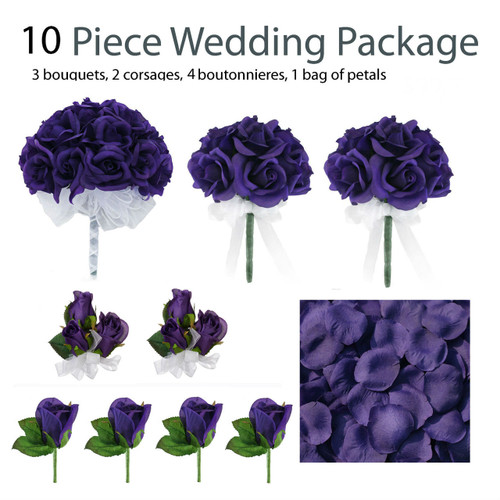 10 piece purple silk wedding flower package purple rose silk flower bridal bouquets. Black Bedroom Furniture Sets. Home Design Ideas