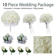 10 Piece Wedding Package - Silk Wedding Flowers - Ivory Rose Bridal Bouquets