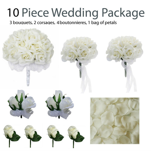 10 piece ivory silk wedding flower package ivory rose silk flower bridal bouquets destination. Black Bedroom Furniture Sets. Home Design Ideas