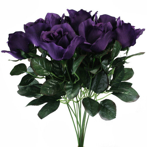 10 Purple Rose Stems Silk Flower Wedding Reception Table Decorations 14 Inch