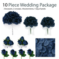 10 Piece Wedding Package - Silk Wedding Flowers - Bridal Bouquets - Navy Blue Rose Bouquets