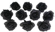 10 Black Rose Heads Silk Flower Wedding/Reception Table Decorations (Large)
