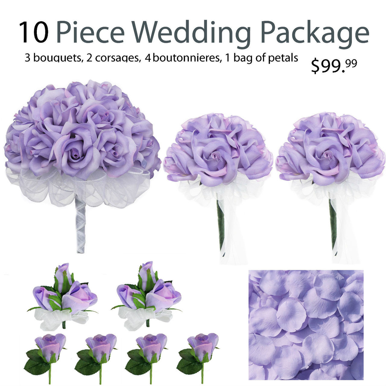 10 piece lavender silk wedding flower package lavender rose silk flower bridal bouquets. Black Bedroom Furniture Sets. Home Design Ideas