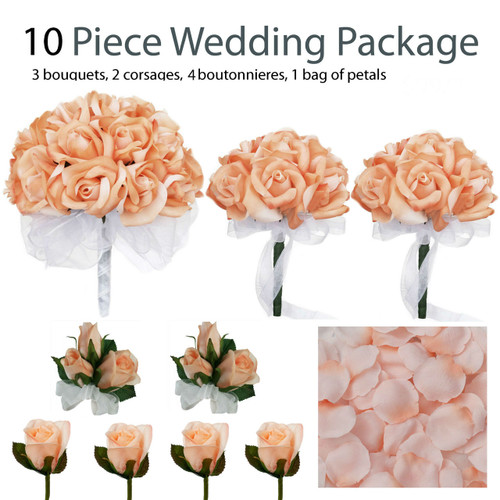 10 Piece Wedding Package Silk Flowers Bridal Bouquets Peach Rose