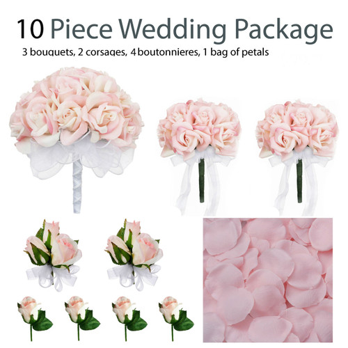 10 piece wedding package silk wedding flowers bridal bouquets pink rose bouquets