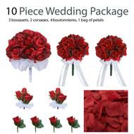 10 Piece Wedding Package - Silk Wedding Flowers - Bridal Bouquets - Red Silk Rose Bouquets