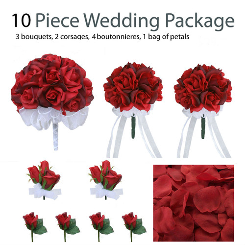 10 piece wedding package silk wedding flowers bridal bouquets red silk rose bouquets