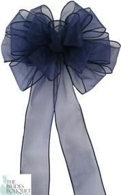 Pew Bows Navy Sheer - Set of 4 Navy Bows - Reception Decoration