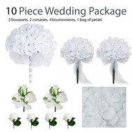 10 Piece Wedding Package - Silk Wedding Flowers - Bridal Bouquets - White Silk Rose Bouquets