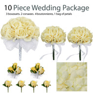 10 Piece Wedding Package - Silk Wedding Flowers - Yellow Rose Bridal Bouquets