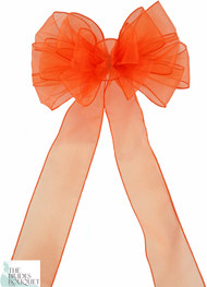 Pew Bows Orange Sheer - Set of 4 Orange Bows - Reception Decoration
