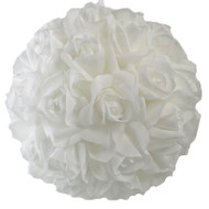 Garden Rose Kissing Ball - White - 10 Inch Pomander Extra Large