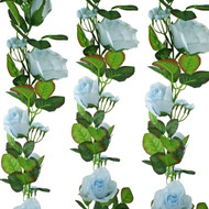 Light Blue Silk Rose Garland - Wedding Decoration
