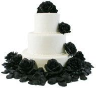 Black Silk Rose Cake Flowers - Reception Decoration
