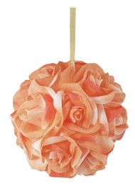 Garden Rose Kissing Ball - Peach - 6 inch Pomander