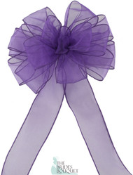 Pew Bows Purple Sheer - Set of 4 Purple Bows - Reception Decoration