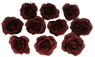 10 Burgundy Rose Heads Silk Flower Wedding/Reception Table Decorations Bulk Silk Flowers