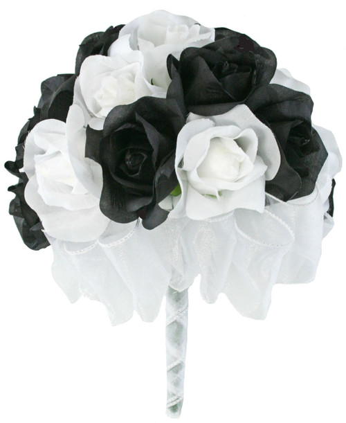 24 roses black white silk flower bridal bouquet wedding toss black and white silk rose hand tie 2 dozen silk roses bridal wedding bouquet mightylinksfo