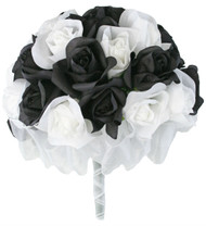 Black And White Silk Rose Hand Tie 3 Dozen Silk Roses - Bridal Wedding Bouquet