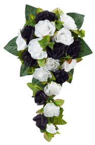 Black And White Silk Rose Cascade - Bridal Wedding Bouquet