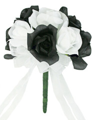 Black And White Silk Rose Toss Bouquet - Artificial Silk Bridal Wedding Bouquet
