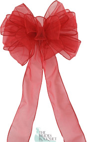 Pew Bows Red Sheer - Set of 4 Red Bows - Reception Decoration