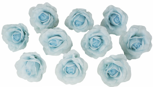 10 Light Blue Rose Heads Silk Flower Wedding/Reception Table ...