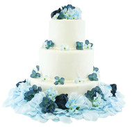 Navy and Light Beach Blue Hydrangea Rose Cake Flowers - Reception Decoration