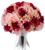 Hydrangea Rose Pink and Fuchsia Hand Tie Large - Silk Bridal Wedding Bouquet
