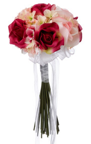 Hydrangea Rose Pink and Fuchsia Hand Tie Small - Silk Bridal Wedding Bouquet