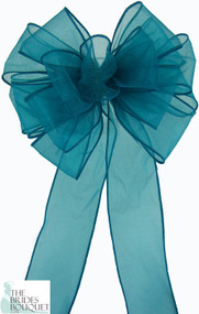 Pew Bows Teal Sheer - Set of 4 Teal Bows - Reception Decoration