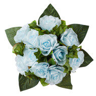 Light Blue Silk Rose Nosegay - Silk Bridal Wedding Bouquet