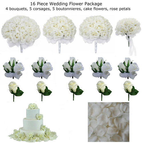 16 piece wedding package silk wedding flowers ivory rose bridal bouquets. Black Bedroom Furniture Sets. Home Design Ideas