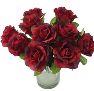 10 Red Rose Stems Silk Flower Wedding/Reception Table Decorations (14 inch)