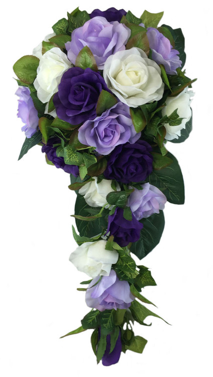 Purple, Lavender And Ivory Silk Rose Cascade - Bridal Flowers ...