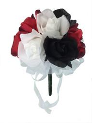Red, White and Black Silk Rose Toss Bouquet - Silk Wedding Toss Bouquet
