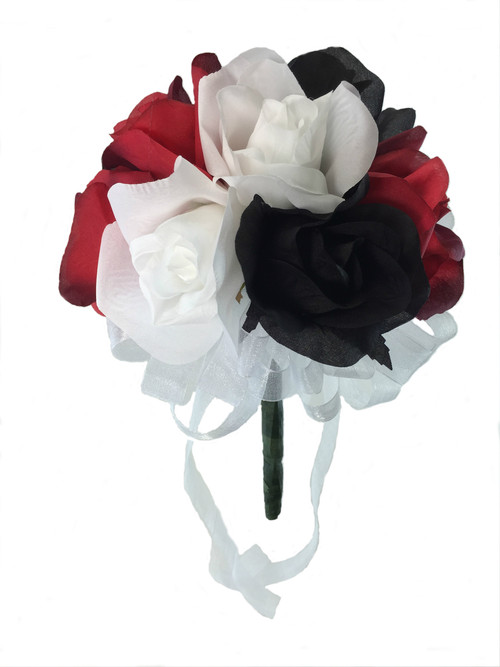 Red, White and Black Silk Rose Toss Bouquet - Silk Wedding Toss Bouquet