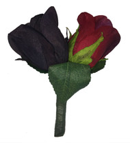 Red and Black Silk Rose Double Boutonniere - Wedding Groom Boutonniere Prom