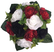 Red, White and Black Silk Rose Round - Artificial Silk Bridal Wedding Bouquet