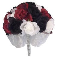 Red, White and Black Silk Rose Hand Tie (24 Roses) - Artificial Silk Bridal Wedding Bouquet
