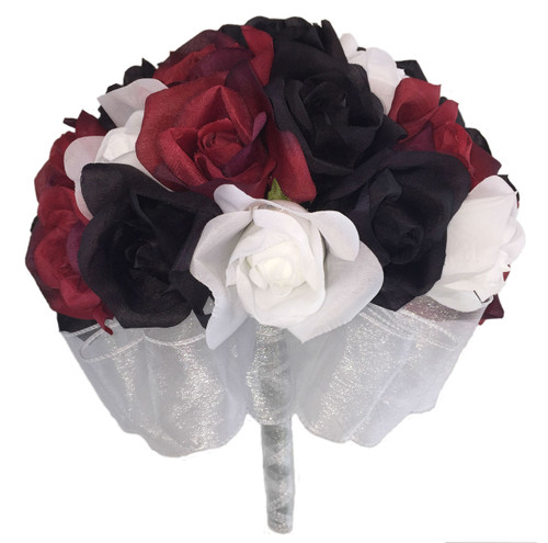 24 roses red black white silk flower bridal bouquet wedding red white and black silk rose hand tie 24 roses artificial silk mightylinksfo