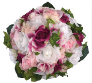 Pink, Fuchsia and White Hydrangea Rose - Silk Bridal Wedding Bouquet