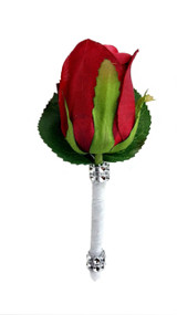 Red Silk Rose PREMIUM Boutonniere - Groom Boutonniere Prom